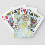 Retro Floral Design in Green & Blue Bicycle Playing Cards