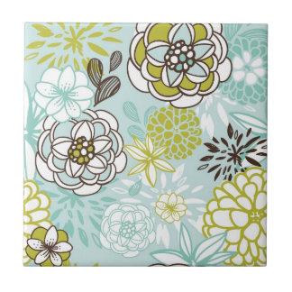 Retro Floral Design in Green & Blue Tile