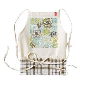 Retro Floral Design in Green & Blue Zazzle HEART Apron