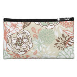 Retro Floral Design in Pink & Blue Cosmetic Bags