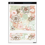 Retro Floral Design in Pink & Blue Xbox 360 S Console Decal