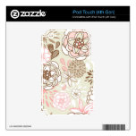 Retro Floral Design in Pink iPod Touch 4G Skin
