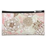 Retro Floral Design in Pink Makeup Bag