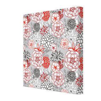 Retro Floral Design in Red & Black Gallery Wrap Canvas