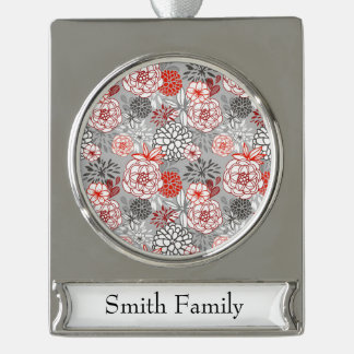 Retro Floral Design in Red & Black Silver Plated Banner Ornament