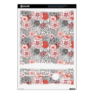 Retro Floral Design in Red & Black Skin For Xbox 360 S