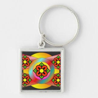 Retro Floral Design Keychain