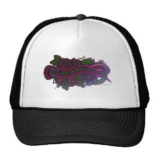 Retro floral design trucker hat