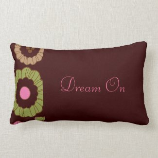 Retro Floral Dream Quote Throw Pillow