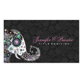 Retro Floral Elephant & Black Damasks Business Card
