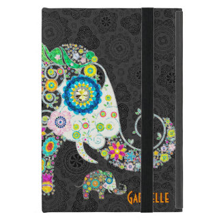 Retro Floral Elephant Design iPad Mini Cover