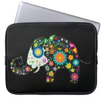 Retro Floral Elephant Fine Cute Girly Laptop Sleeve