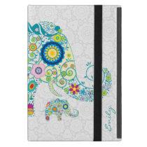 Retro Floral Elephant White Damasks Monogram 2 Cover For iPad Mini