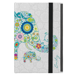 Retro Floral Elephant White Damasks Monogram 2 Cover For iPad Mini