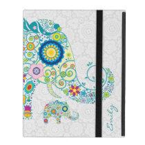 Retro Floral Elephant White Damasks Monogram 2 iPad Folio Case