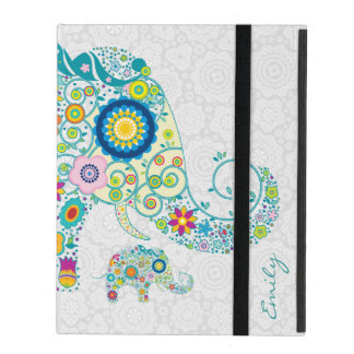 Retro Floral Elephant White Damasks Monogram 2 iPad Folio Case