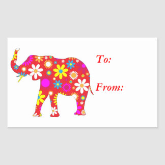 Retro floral enrrollado del elefante a, de los pegatina rectangular