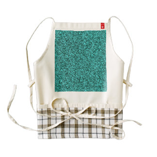 Retro Floral Evergreen Jade Teal Zazzle HEART Apron