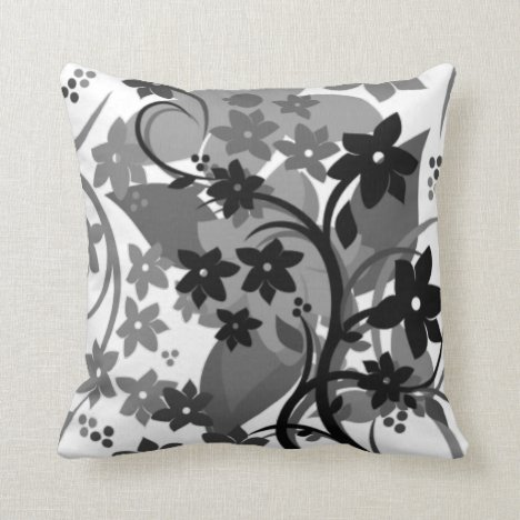 [Retro Floral] Gray Grey Botanical Graphic Design Throw Pillow