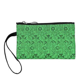 Retro Floral Green Bagettes Travel Key Coin Bag Change Purses