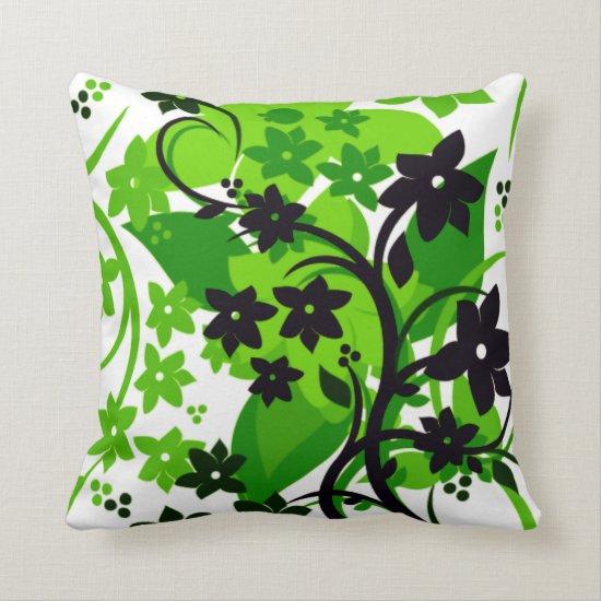 [Retro Floral] Green Botanical Graphic Design Throw Pillow