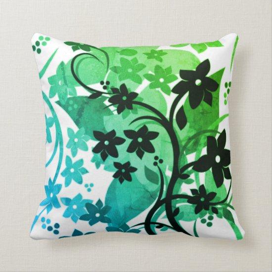 [Retro Floral] Greenleaf Botanical Graphic Design Throw Pillow
