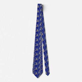 Retro floral in blue tie