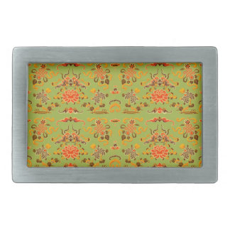 Retro Floral in Green, Orange, and Brown Belt Buckle