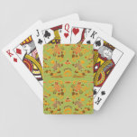 Retro Floral in Green, Orange, and Brown Poker Deck