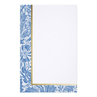 Retro Floral in Light Blue -Customized Stationery