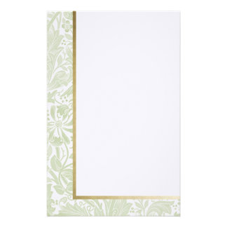 Retro Floral in Light Green -Customized Stationery