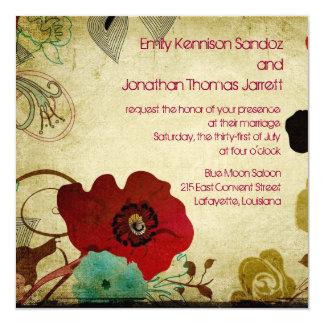 """Retro Floral Invite 5.25"""" Square Invitation Card"""