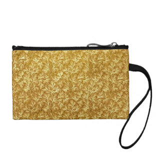 Retro Floral Lace Leaf Mustard Yellow Bagettes Coin Purse