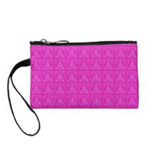 Retro Floral Leaf Hot Pink Bagettes Handbag Coin Purse