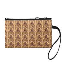 Retro Floral Leaf Sand Brown Bagettes Handbag Change Purse