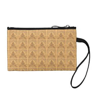 Retro Floral Leaf Sand Wheat Bagettes Handbag Coin Wallet