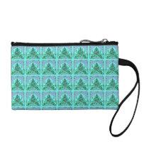 Retro Floral Leaf Teal Bagettes Handbag Coin Wallet