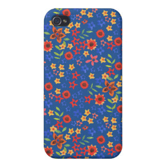 Retro Floral Miniprint on Blue iPhone 4 Case