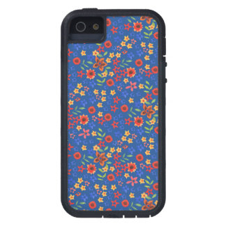 Retro Floral Miniprint on Blue iPhone 5/5s Case