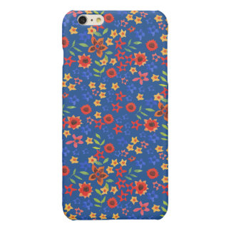 Retro Floral Miniprint on Blue iPhone 6 PlusCase Glossy iPhone 6 Plus Case