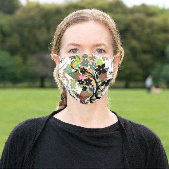 [Retro Floral] Multicolor Botanical Graphic Design Adult Cloth Face Mask