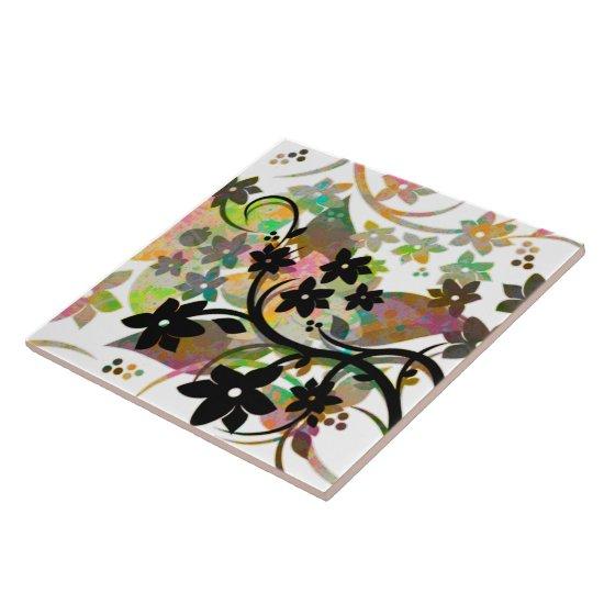 [Retro Floral] Multicolor Botanical Graphic Design Ceramic Tile