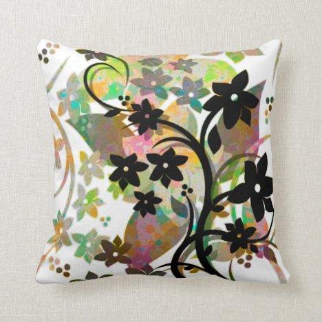 [Retro Floral] Multicolor Botanical Graphic Design Throw Pillow