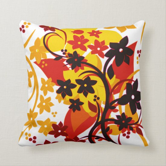 [Retro Floral] Orange Botanical Graphic Design Throw Pillow