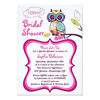 Retro Floral Owl Hot Pink Bridal Shower Invitation