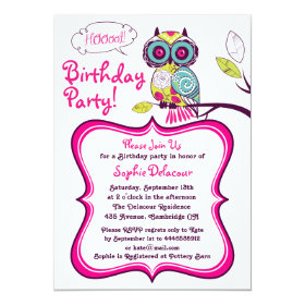Retro Floral Owl Hot Pink Kids Birthday Invitation 5