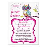 Retro Floral Owl Hot Pink Sweet Sixteen Invitation