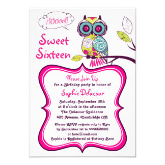 Retro Floral Owl Hot Pink Sweet Sixteen Invitation