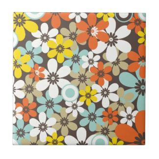 Retro Floral Pattern Ceramic Tile