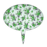Retro Floral Pattern, green and purple. PJ Cake Picks